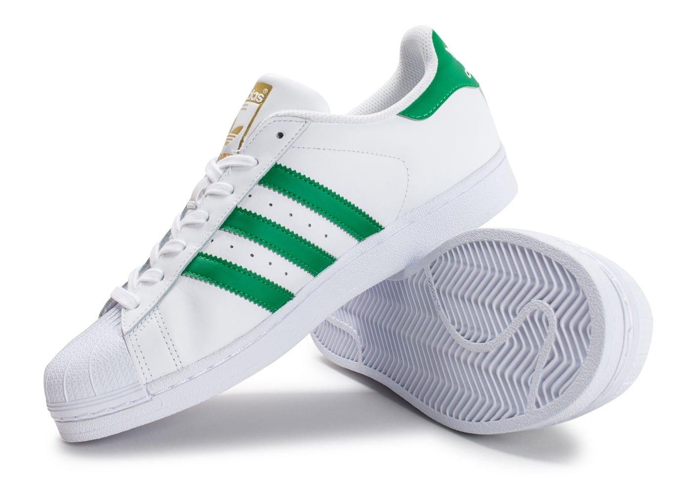 adidas superstar blanche et vert